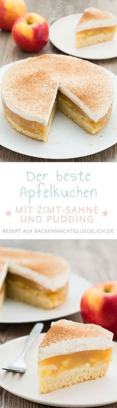 Apfel-Sahne-Torte mit Pudding #applerecipes