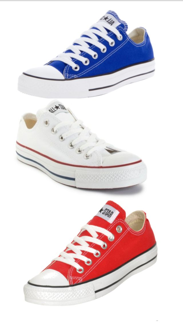 converse red white and blue shoes