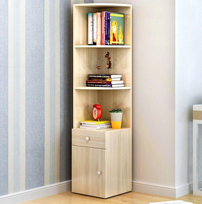 Large Stylish Wooden Corner Shelf Unit With Cabinet Drawer Wooden Corner Shelf Corner Shelves Living Room Shelves Cabinet with drawers and shelves