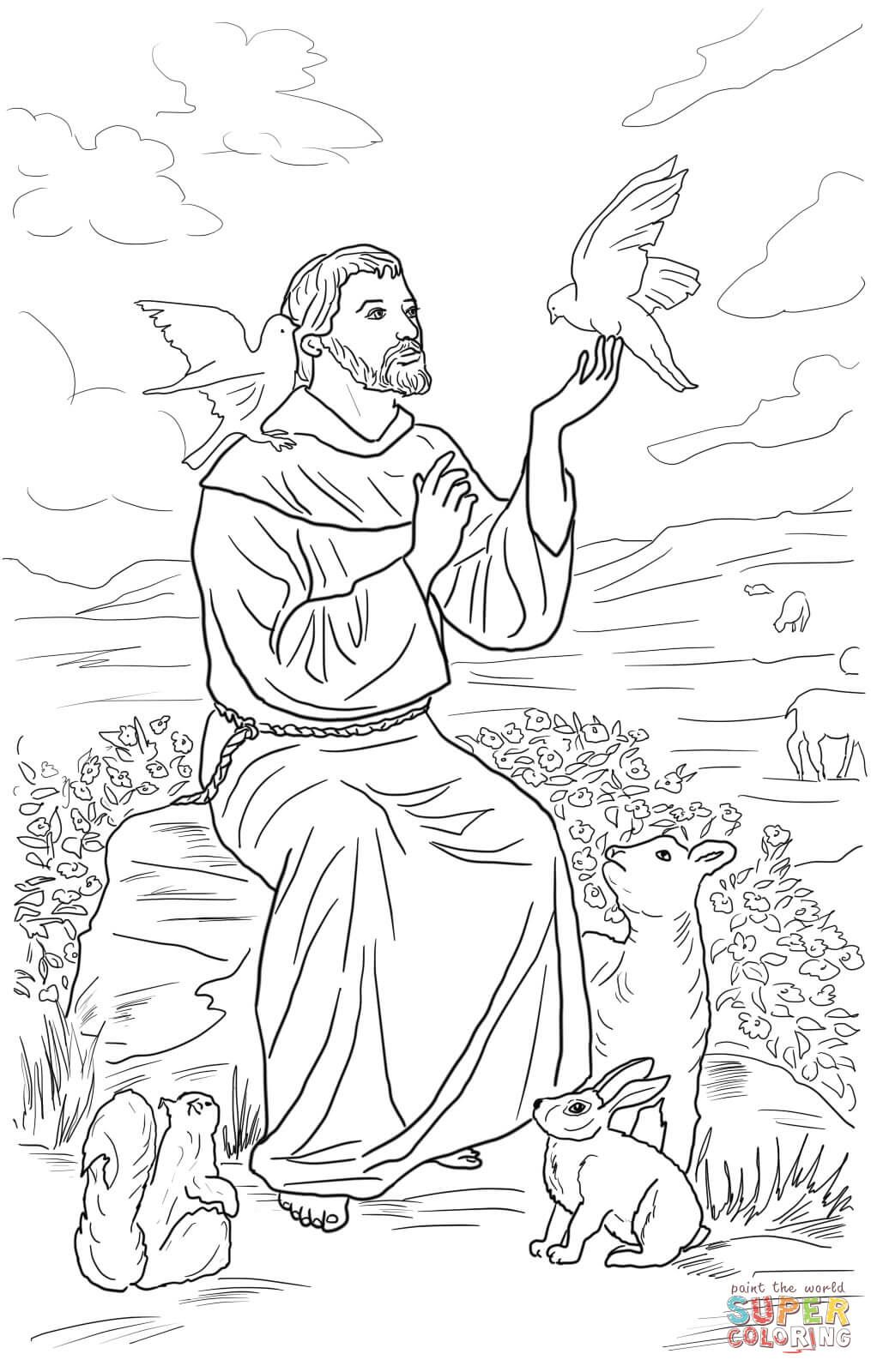 Saint Francis of Assisi coloring page from Saints category