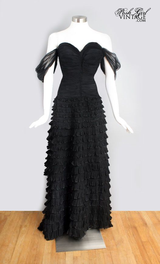 1940s Hollywood Evening Gowns: 1940's Old Hollywood Glamour Long Black Evening Gown