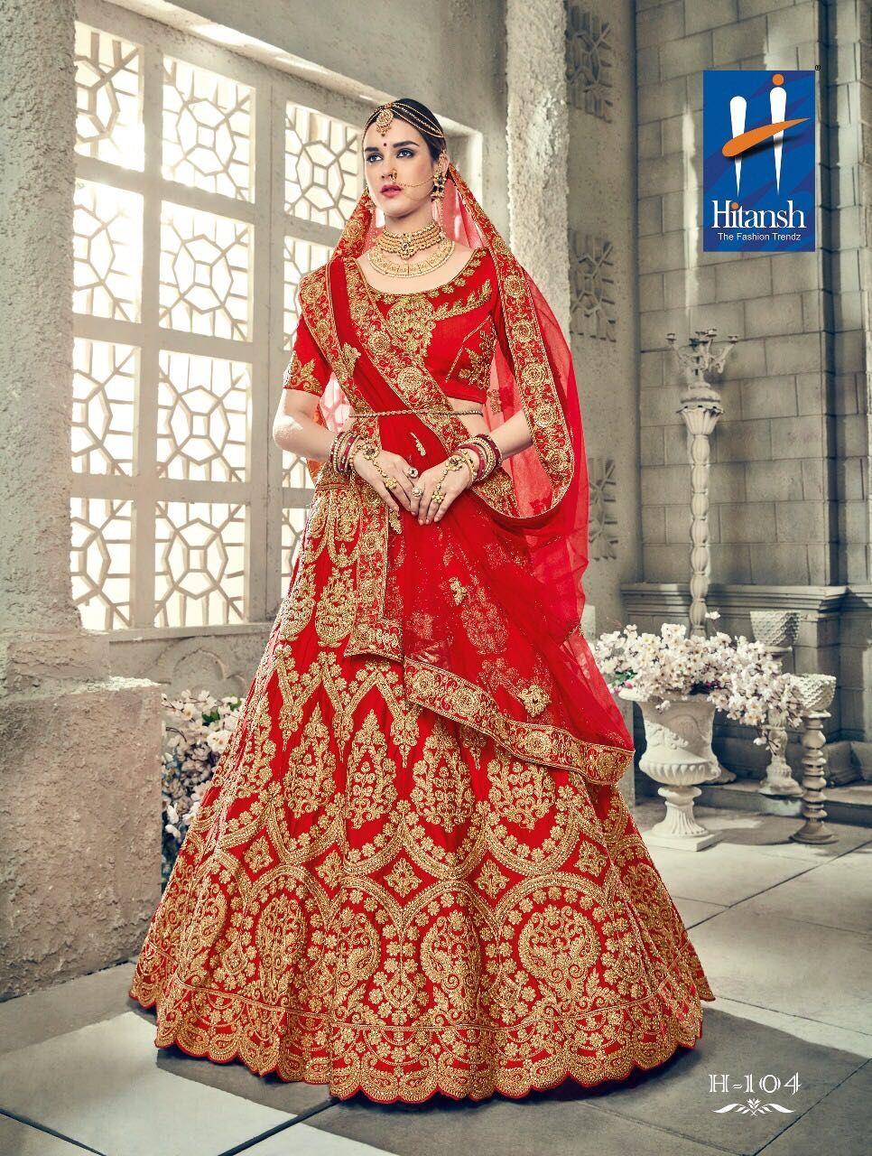 4dffc28e4d Hitansh Vivah Exclusive Red Colour Heavy Embroidery Designer Bridal Lehenga.  Design No-H-104. Lehenga-Silk. Blouse-Silk. Dupatta-Net.