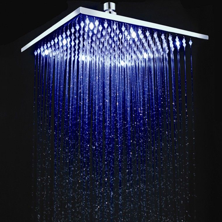 12 Inch Square Brass LED Rain Shower Head in Chrome | Bathroom ...