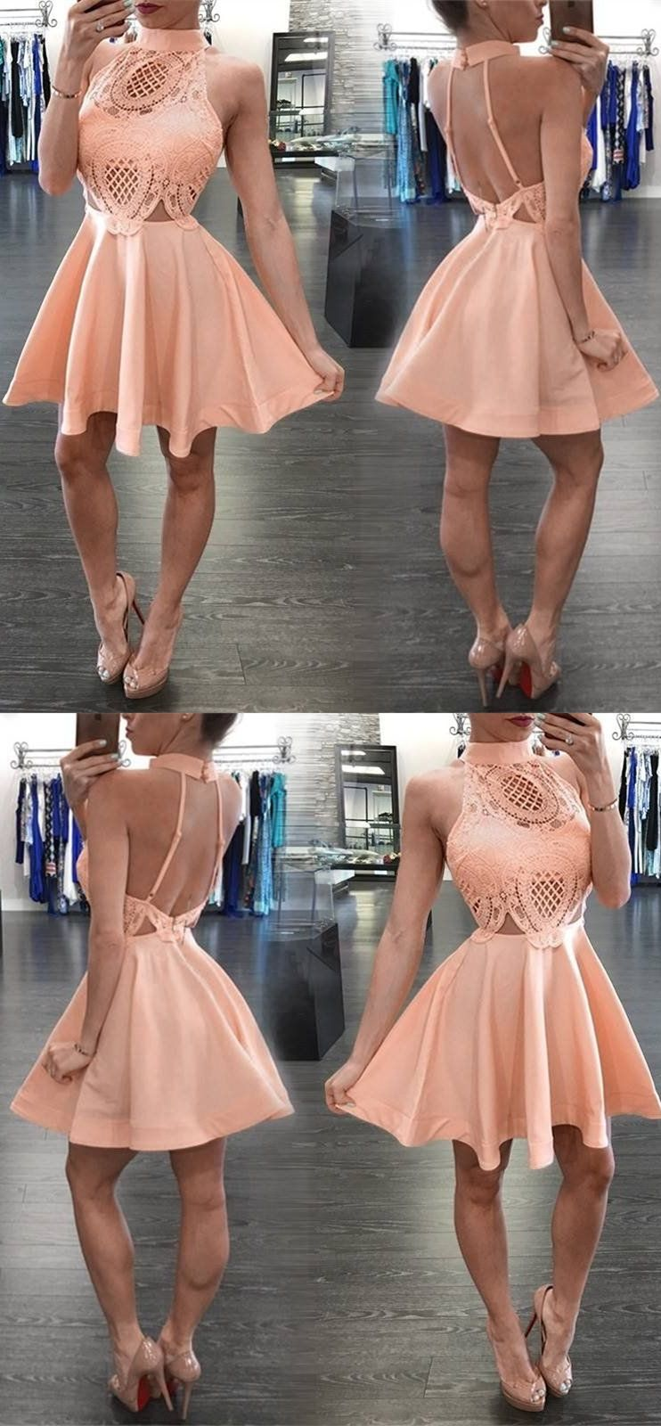 High neck short apricot homecoming dress with lace backless in