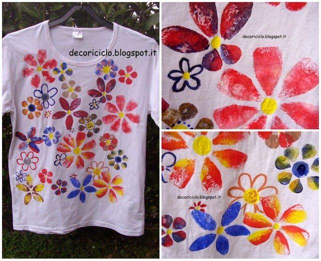 Bambini Pittura ~ Tubetto e colori pittura su stoffa su una camicia per bambino