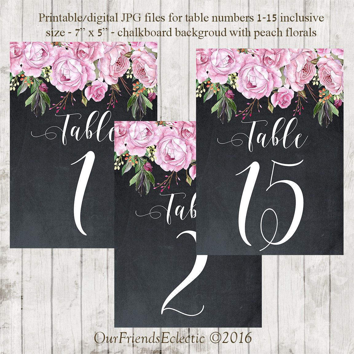 Printable Chalkboard Table Numbers Wedding 1 15 Lavender Roses