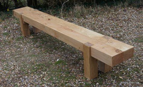 2 Beam Long Rustic Oak Garden Bench