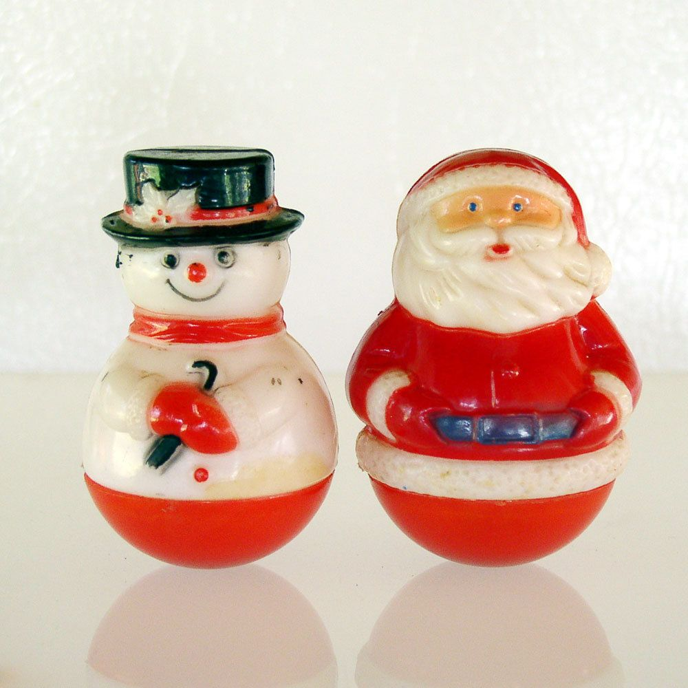 Items Similar To Vintage Santa S Workbench Dickens Choir: Vintage Roly Poly Hard Plastic Santa Claus & Snowman. Via