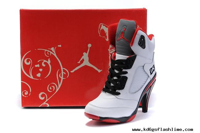 best service 3f4fd 2d0dd Air Jordan 5 V Womens Heels Ankle Boots White Red Outlet Buy | Stuff ...