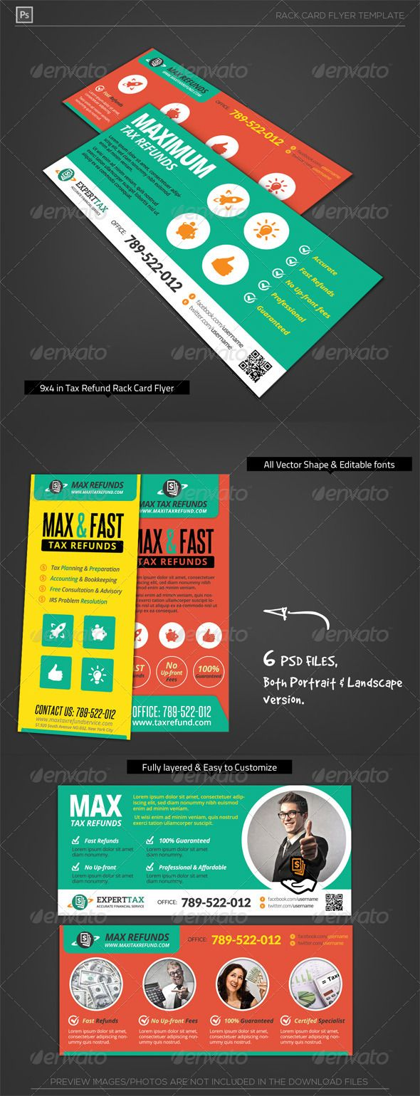 Corporate Tax Refund Financial Rack Card Flyer | Brochures, Layout ...