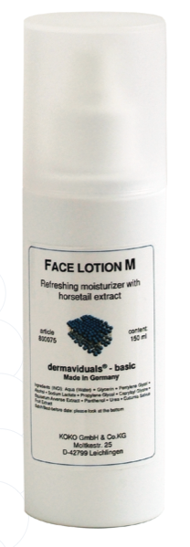 Lotion M is a moisturising tonic. It is designed specifically to support your capillary network. Its anti-oxidant properties (horsetail & panthenol B5) both protect and regenerate the skin and aid in the repair of connective tissue.