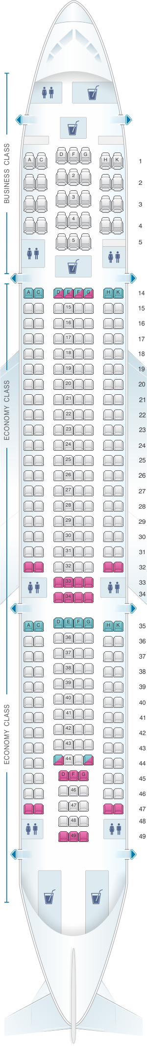 Seat Map Hi Fly Airbus A330 200 298pax Hawaiian airlines