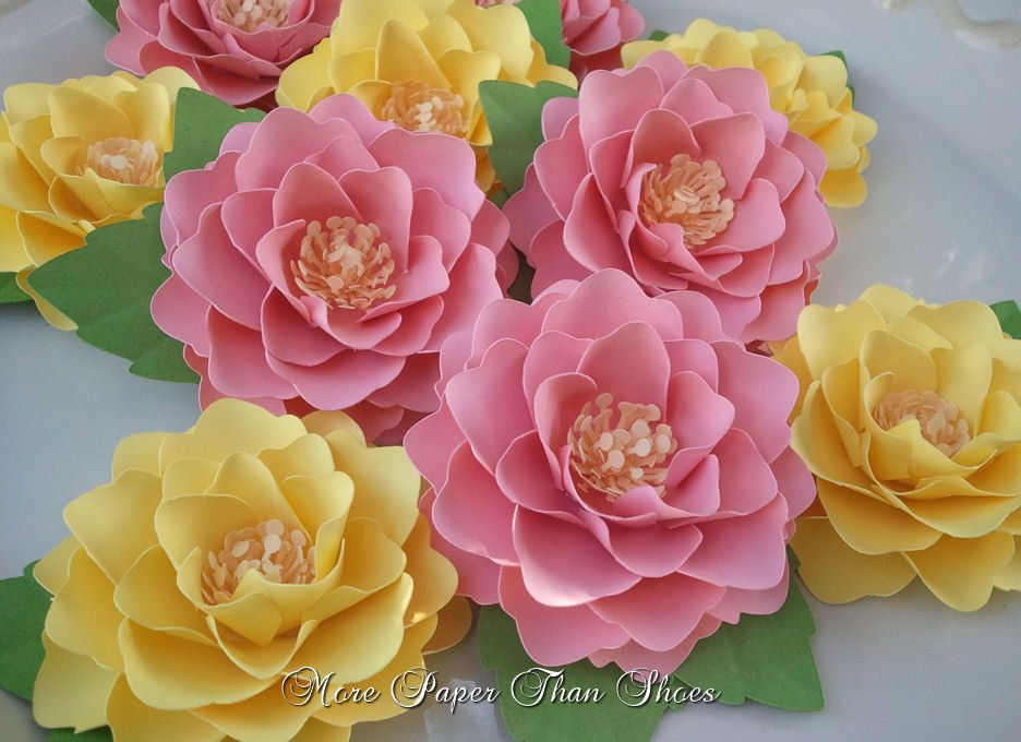Paper flowers handmade elizabeth rose set of 25 pink and paper flowers handmade elizabeth rose set of 25 pink and yellow weddings table decorations made to order mightylinksfo