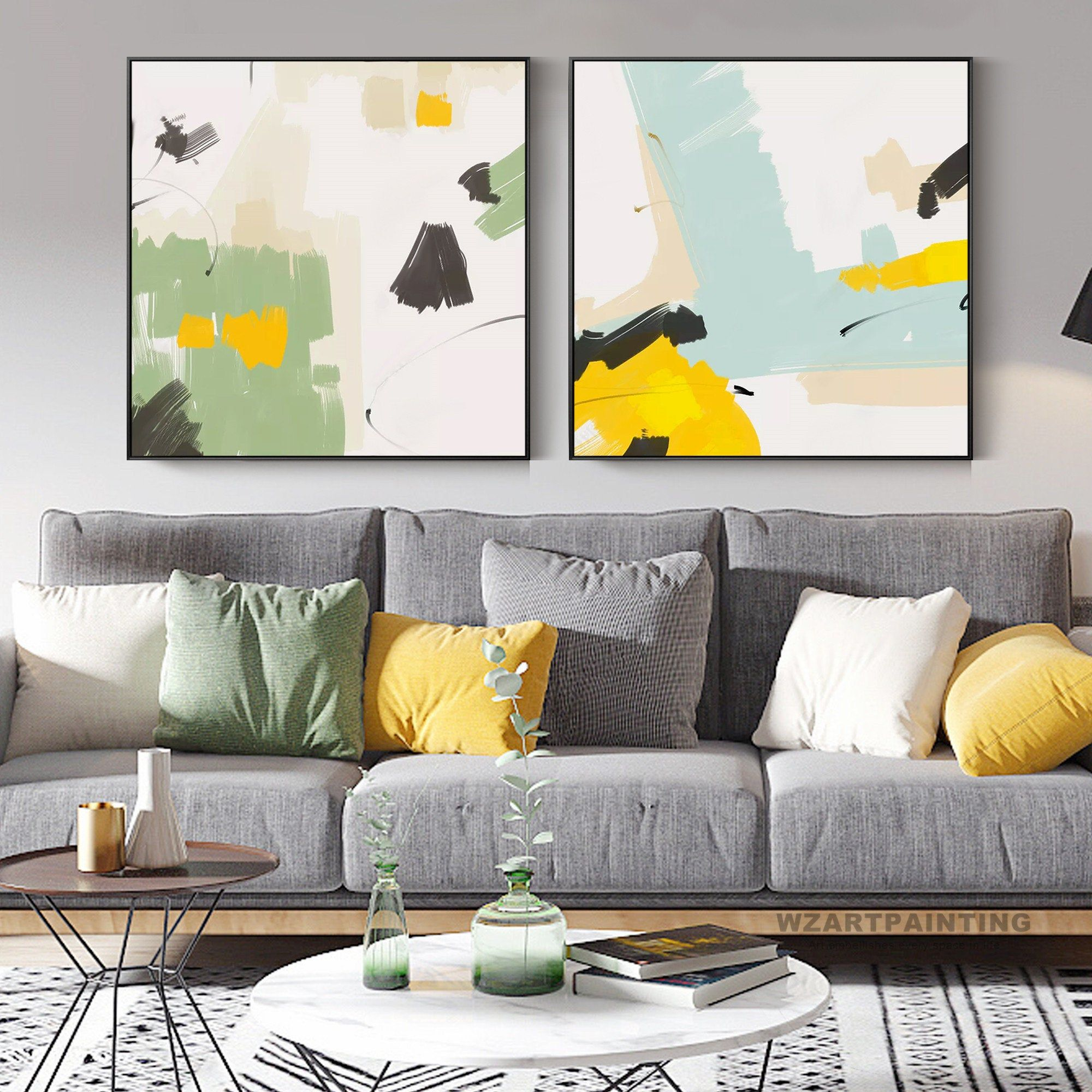 Framed Wall Art Set Of 2 Prints Abstract Green Blue Yellow Black White Print Painting On Canvas Large Wall Ar Framed Wall Art Sets Wall Art Sets Green Wall Art