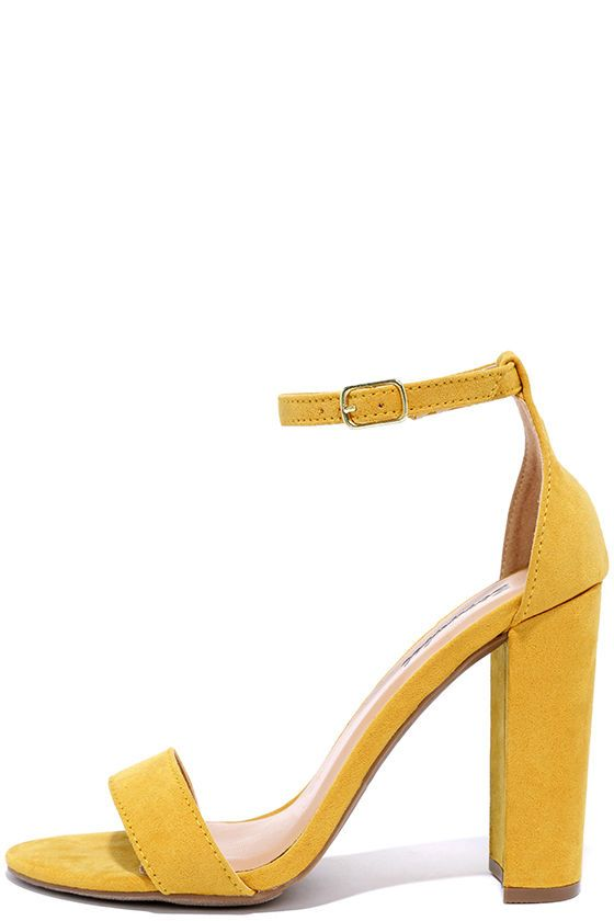 Social Scene Yellow Suede Ankle Strap Heels at