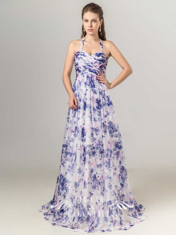 8db821d6b4b Full Length Sweetheart Floral Printed Blue Bridesmaid Dresses with Removable  Strap
