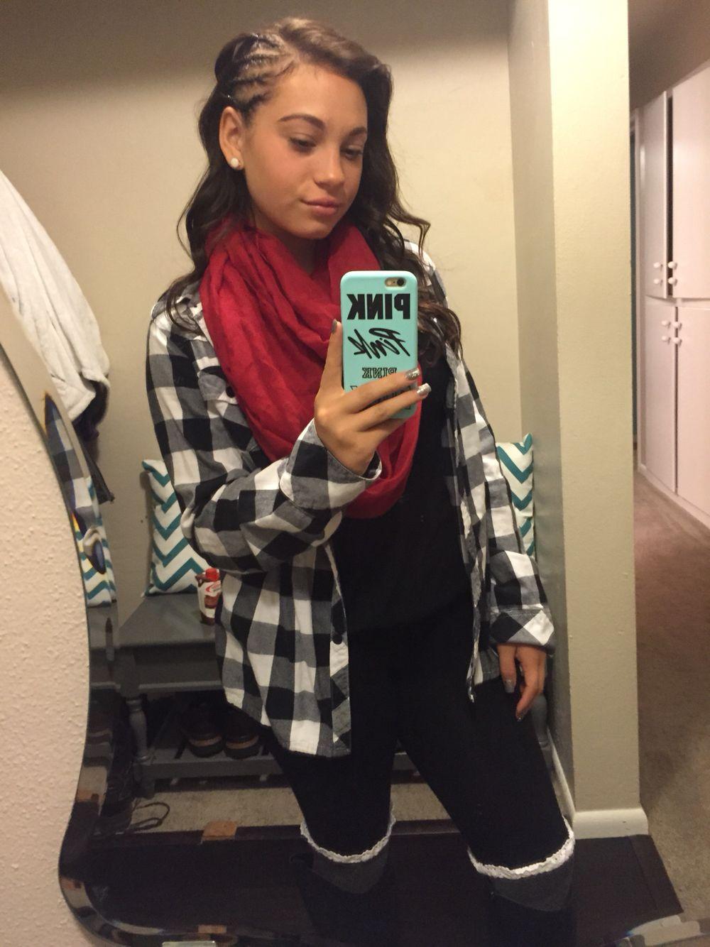 Clothes scarf plaidshirt cornrose school clothes pinterest
