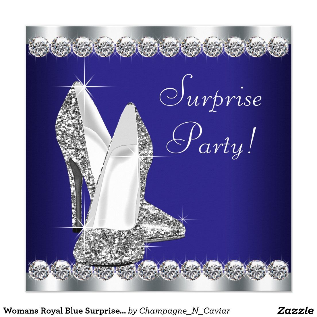 Womans Royal Blue Surprise Birthday Party 5.25x5.25 Square Paper ...