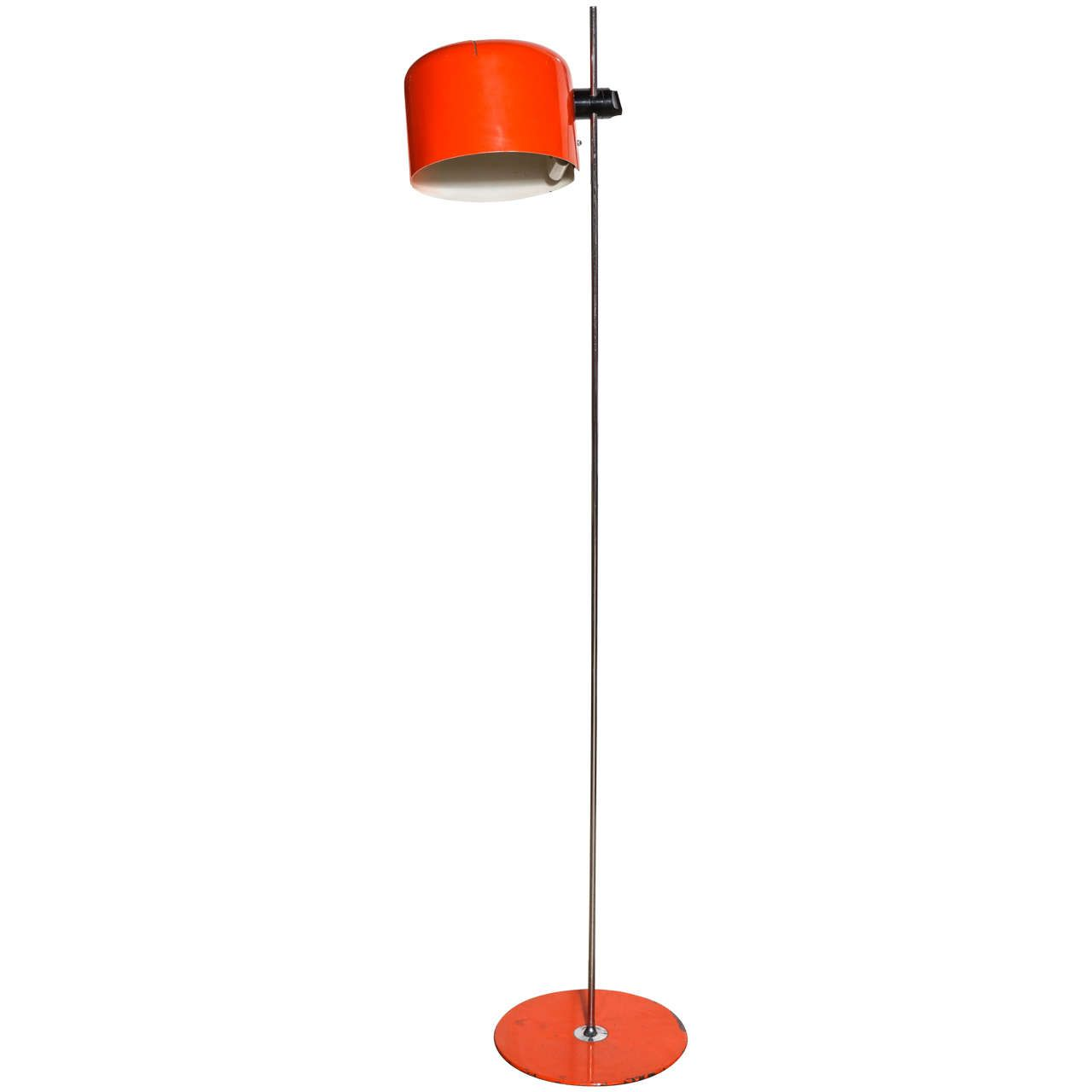 Joe Colombo Adjustable Orange Coupe Floor Lamp From A Unique