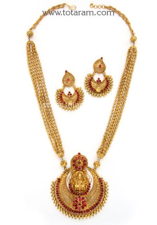 22K Gold Long Lakshmi Necklace & Earrings Set Temple jewellery
