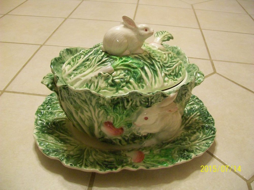 Vintage Cabbage Soup Tureen Shafford Rabbit Patch Platter Ladle Green Bunny Cabbage Soup Cabbage Tureen