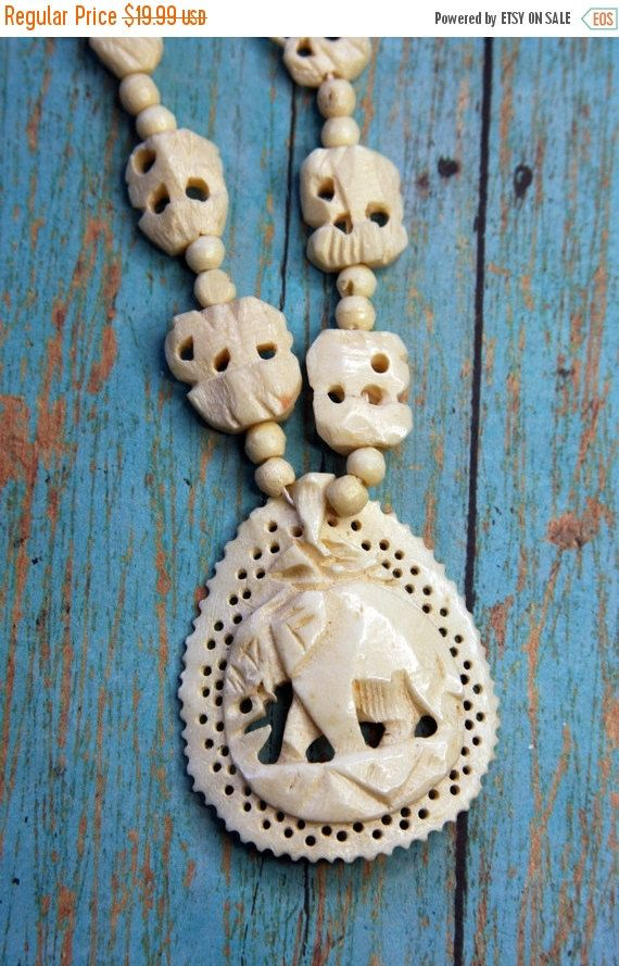 On Sale Ivory Colored Carved Bone Elephant Necklace With Beads Costume Jewelry Parts Necklace African Tribal Elephant Necklace Ivory Color Bone Carving