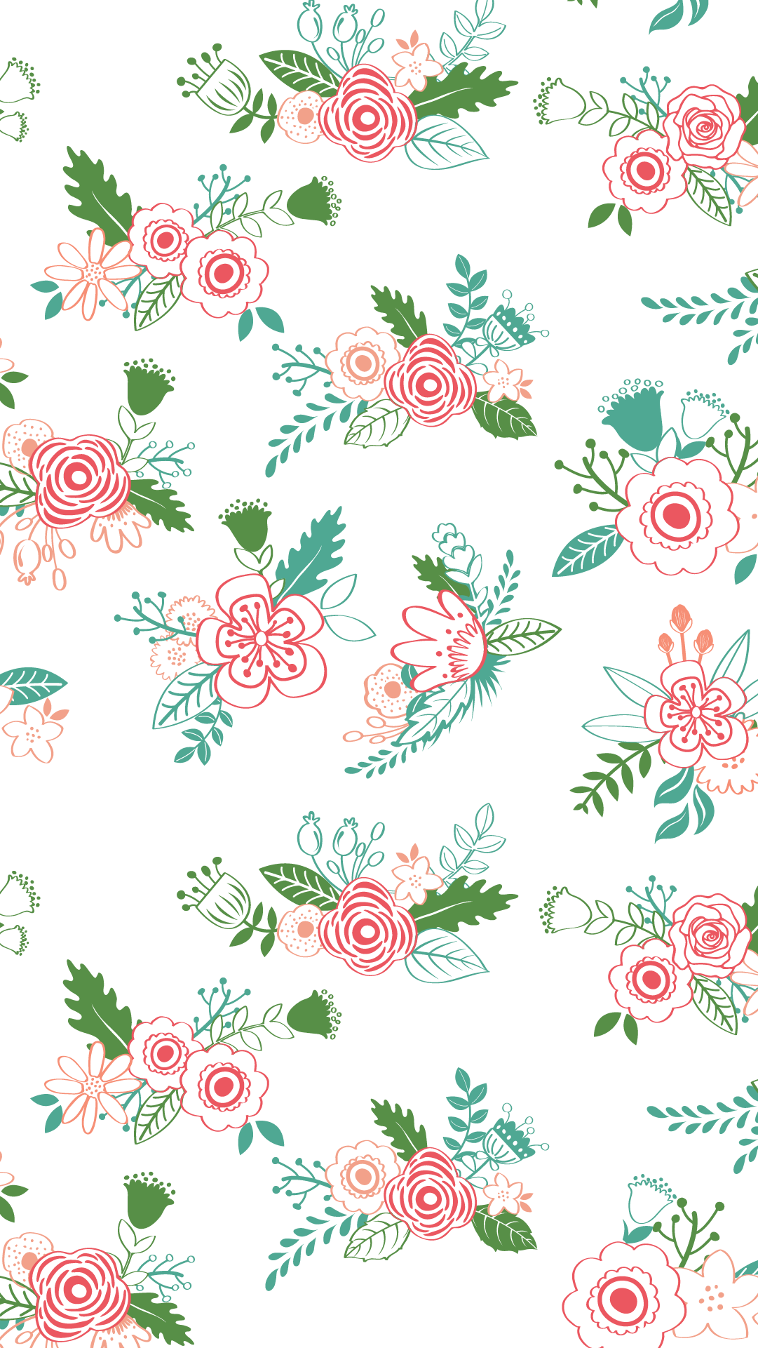 White mint green pink illustrated floral flowers iphone wallpaper phone background lock screen