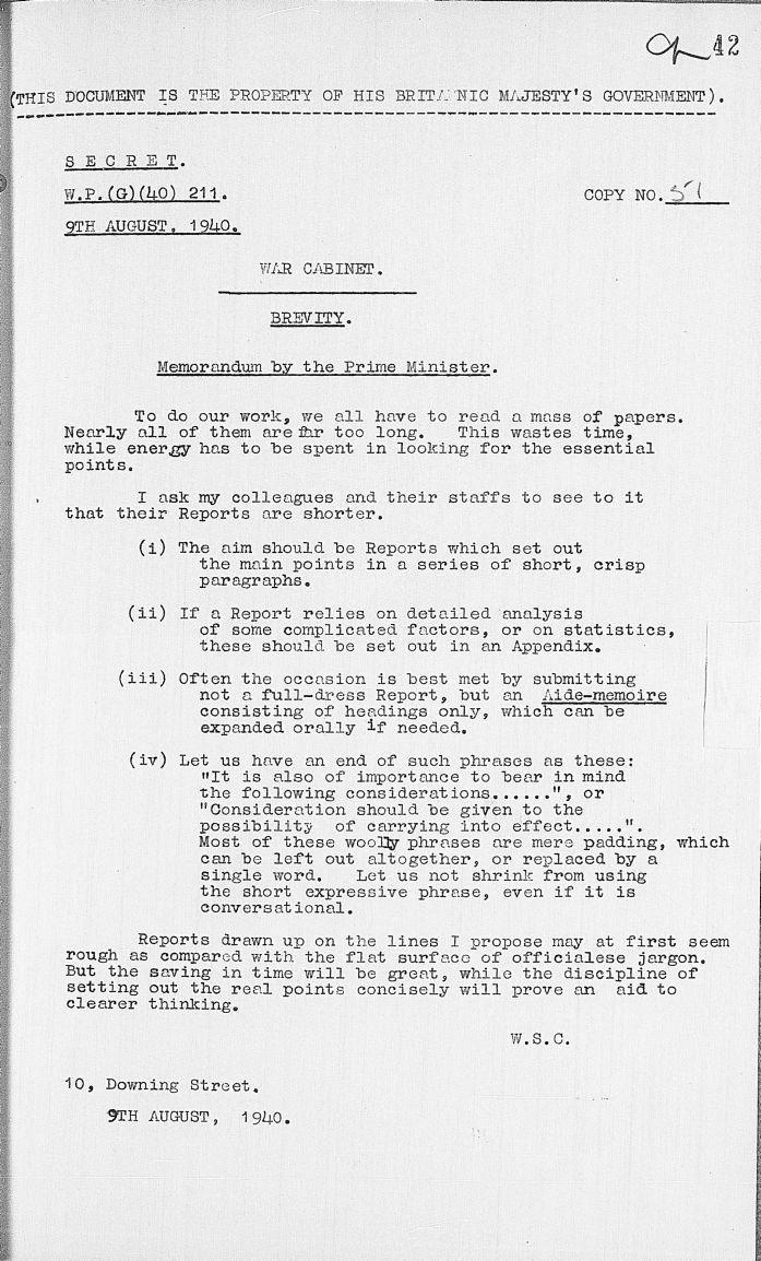 Brevity Documents Brevity Churchill Writing