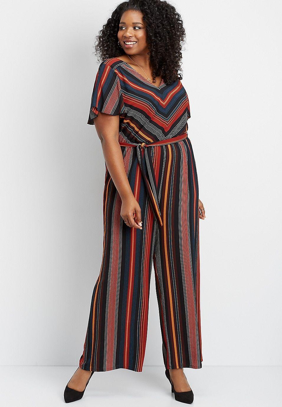 09f7f22fed5 Plus size stripe tie front jumpsuit