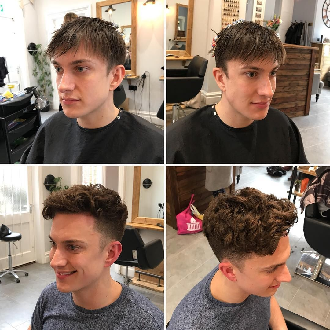 So Today Amy Did A Perm On Matt He Has Extremely Straight Hair And Usually Has To Spend Time Styling It To Get This Perm Hair Men Permed Hairstyles Perm Curls