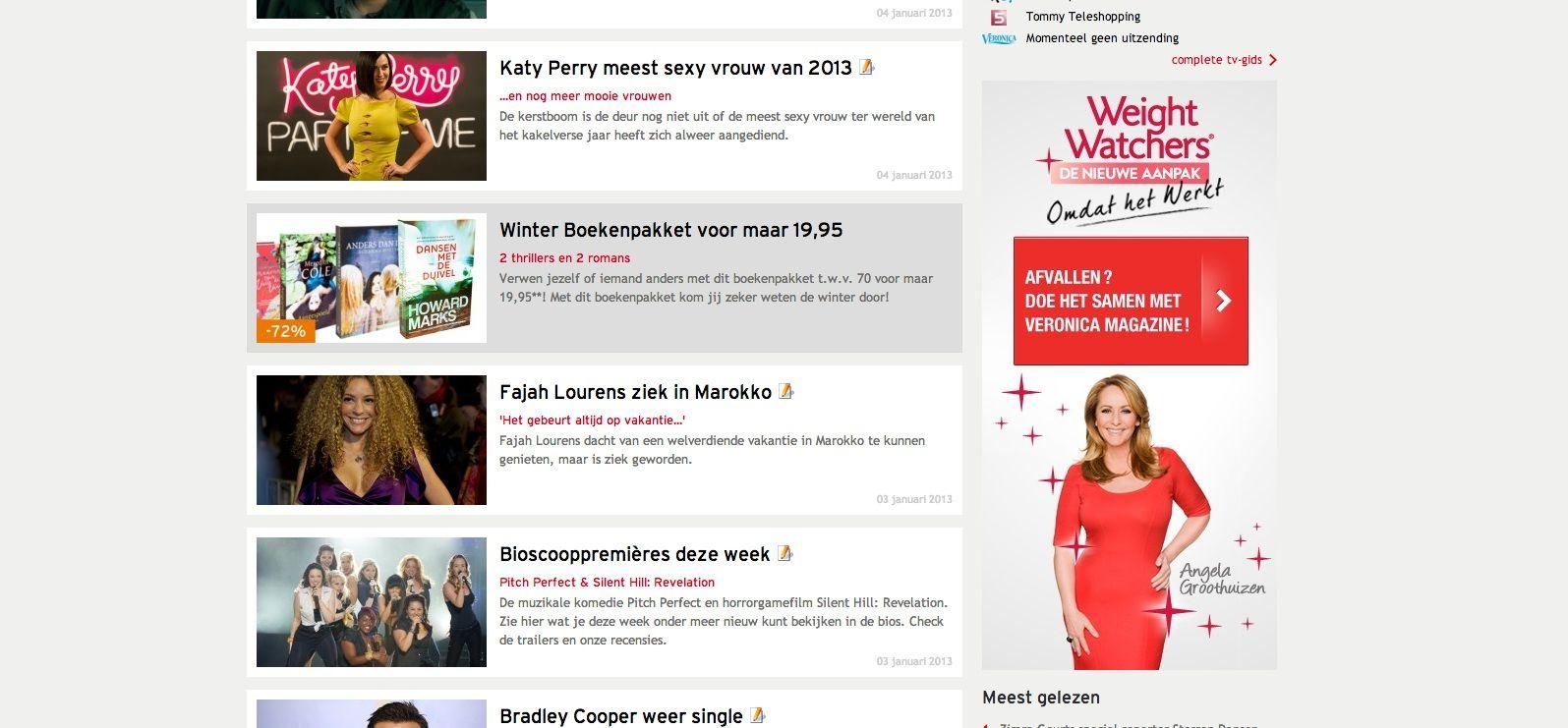 Klant: Weigt Watchers, Campagne: Oproep afvallen met Angela Veronicamagazine.nl Half Page