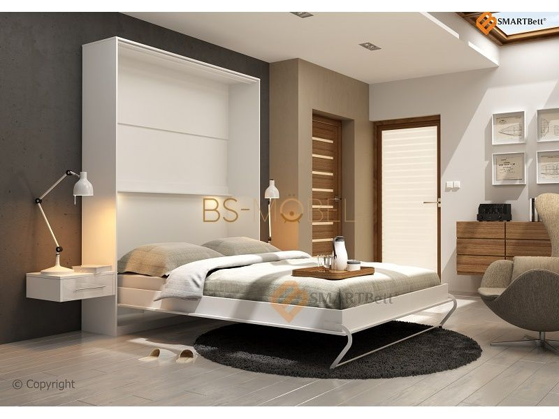 schrankbett smartbett 140cm vertikal wei 774 95. Black Bedroom Furniture Sets. Home Design Ideas