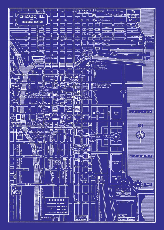 1949 vintage map of chicago illinois 16x20 blueprint map 2295 1949 vintage map of chicago illinois 16x20 blueprint map 2295 via etsy malvernweather Images