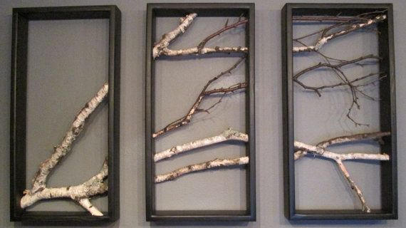 Birch, Branch, Triptych, Wall Hanging, Triptych,Original