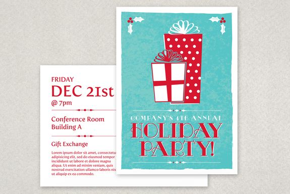 Classic Holiday Party Flyer Template seasonal winter design from - holiday party flyer template