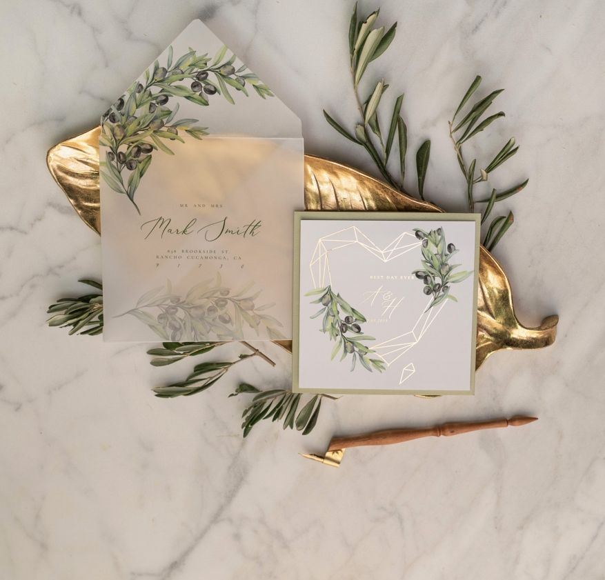 Tuscany Olive Branch Wedding Invitations Gold Foil Geometric Heart with Vellum envelope perfect for Italy Wedding 2/heartG/z