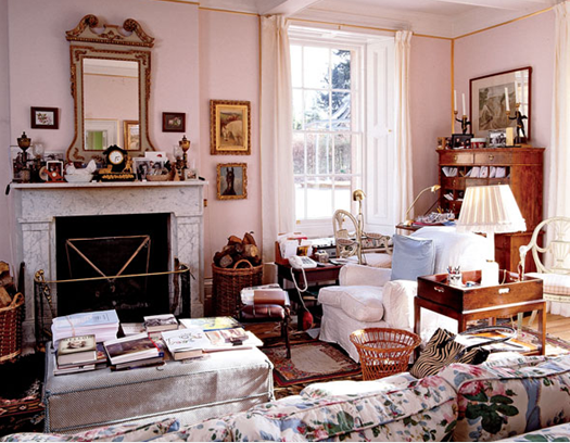 The Dowager Duchess of Devonshire's drawing room at the Old Vicarage.