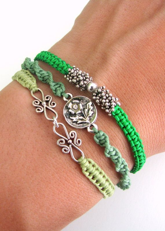 Photo of Bohemian Bracelet Stack with Silver Vermeil Beads and Silver Connectors – Three Macrame Bracelets