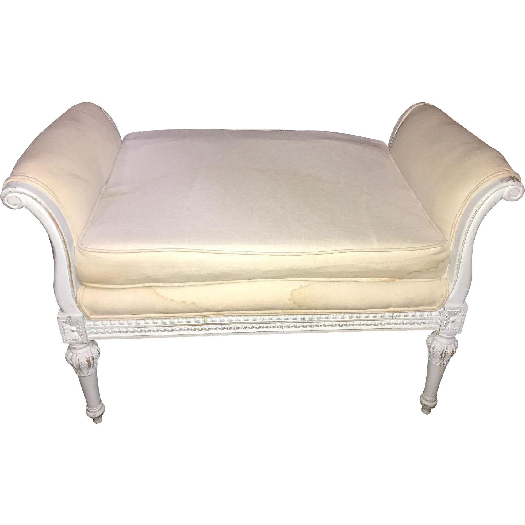 Vintage french louis xvi style upholstered window bench circa