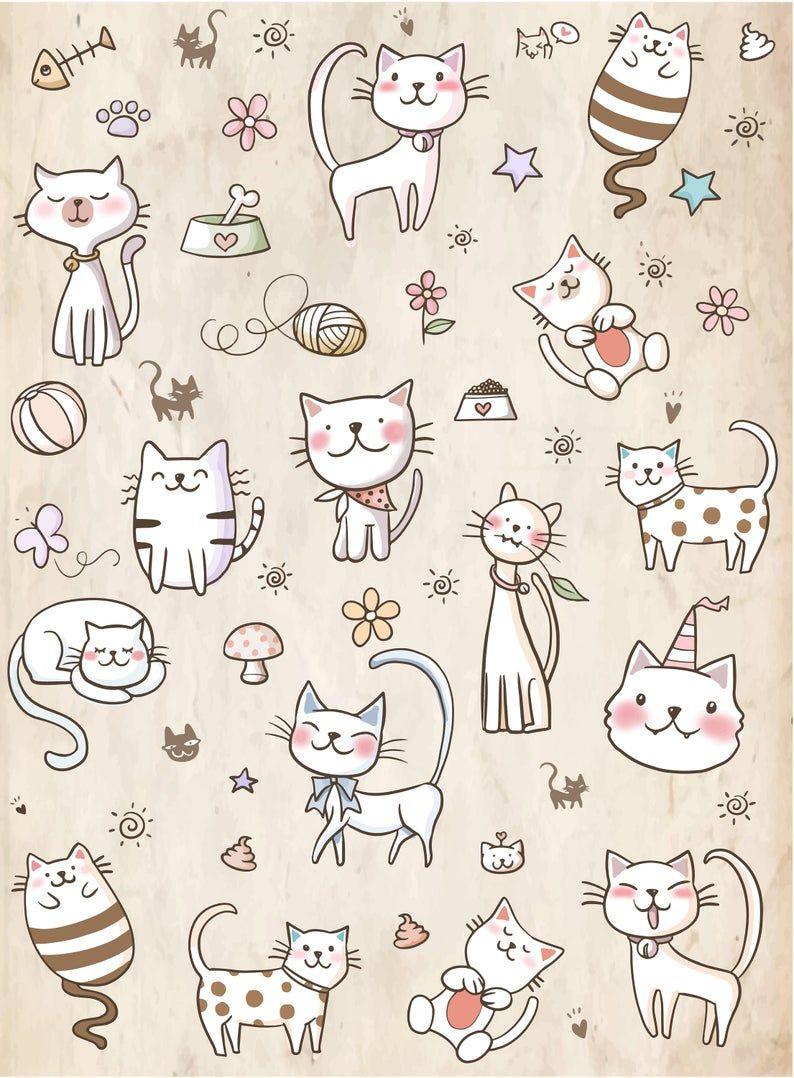 Cat Cartoon Bg Backdrop Gift Cute Cat Pastel Colors Etsy Cartoon Cat Cartoon Cute Cat