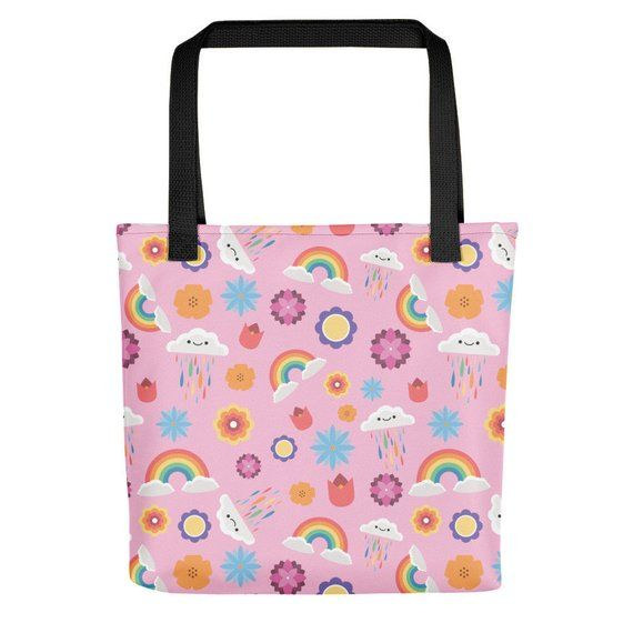 Girly Print Tote Bag Pink Design Bag With Rainbow Clouds And