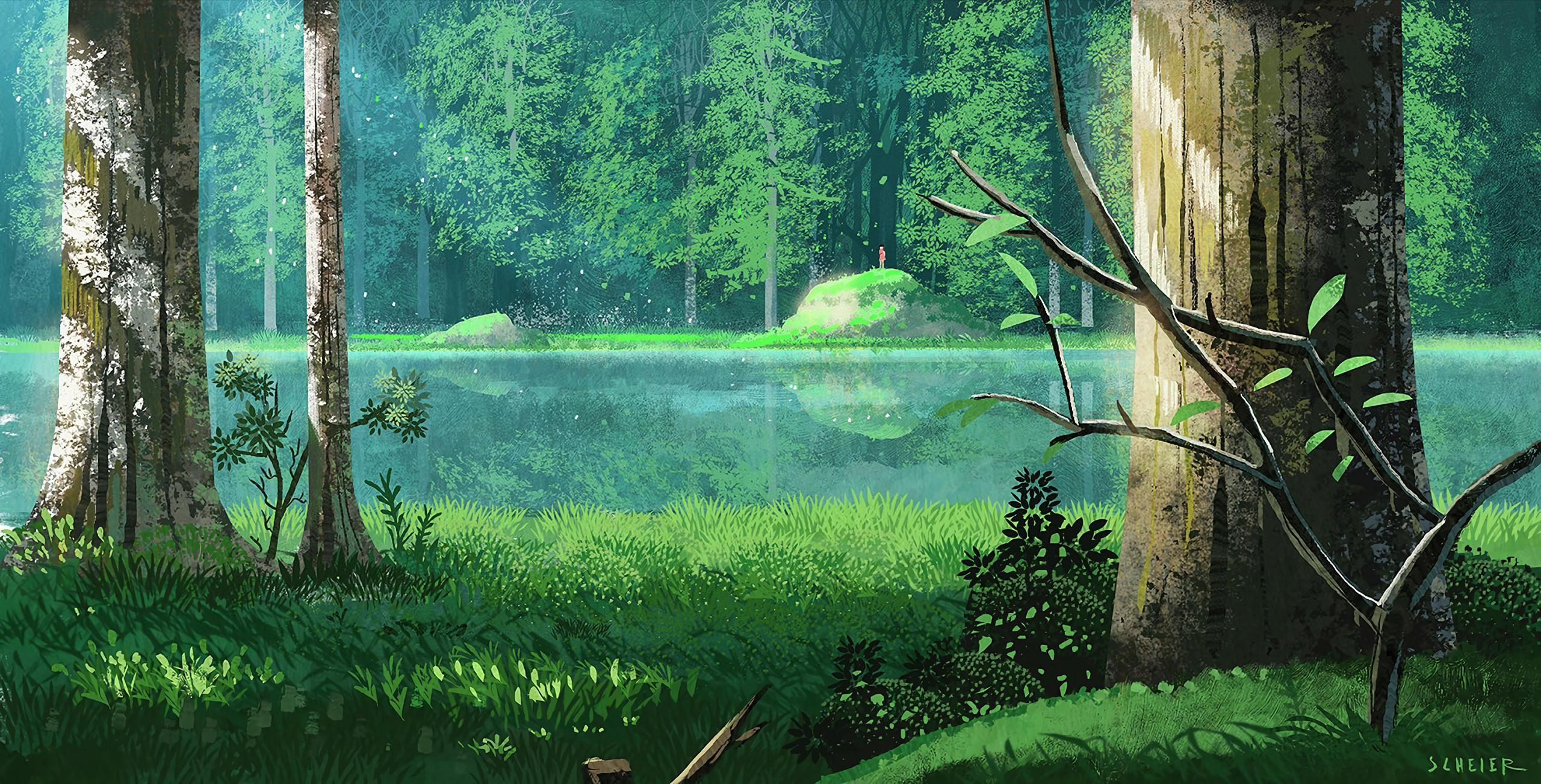 A Lake 2560x1303 Fantasy Landscape Photoshop Landscape Anime Scenery Wallpaper