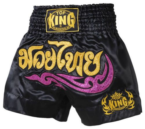 Muay Thai Shorts Kick Boxing Training Satin Black Gold Short Tiger Embroidery