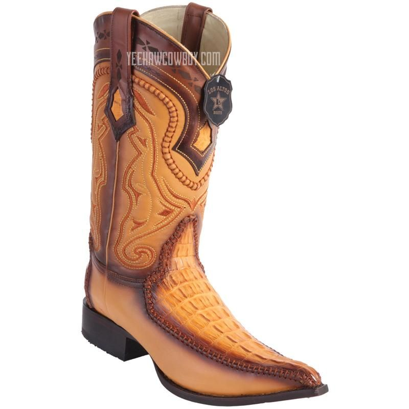28518ff191b Men's Los Altos Genuine Caiman Tail Boots With Deer 3x Toe ...
