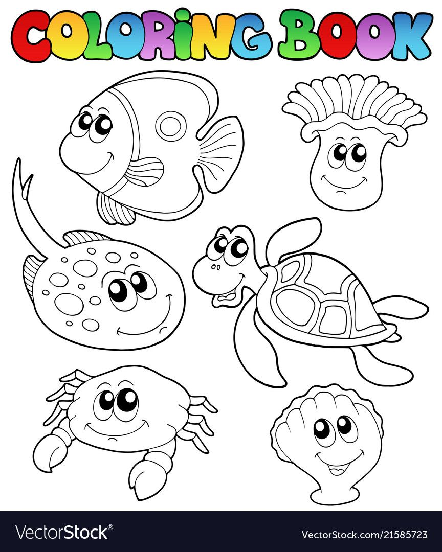 Coloring Book With Marine Animals 3 Vector Illustration Download A Free Preview Or High Quality Adobe Il Coloring Books Coloring Pages Animal Coloring Pages