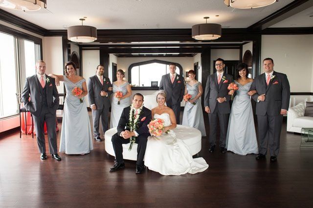 "{    MODERN SAMOAN WEDDING    }  ""Lauren and Anthony got married in July on the top floor of the PNC building in Fort Wayne at a gorgeous venue called Empyrean with 360-degree views of the city. The groom is Samoan, and in honor of that, the bride performed a traditional Samoan bridal dance at the beginning of the reception. The couple also had a lovely flower ceremony that allowed them to include Anthony's daughter in a really special way....."""