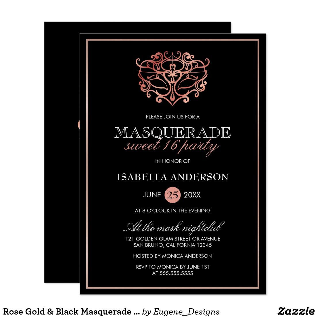 About This Design Rose Gold Black Masquerade Sweet 16 Typography