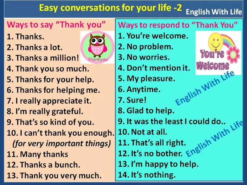 Ways To Say Thank You And Ways To Respond To Thank You Learn English Words English Conversation For Kids English Vocabulary Words