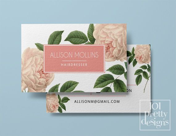 Vintage Business Card Template Printable Business Card Designroses Business Floral Business Card Design Botanical Pink Roses Pink And White Floral Business Cards Vintage Business Cards Template Vintage Business Cards