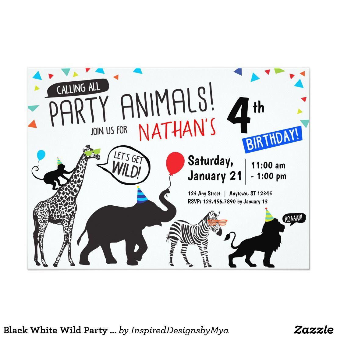 Black White Wild Party Animal Birthday Invitation Zazzle